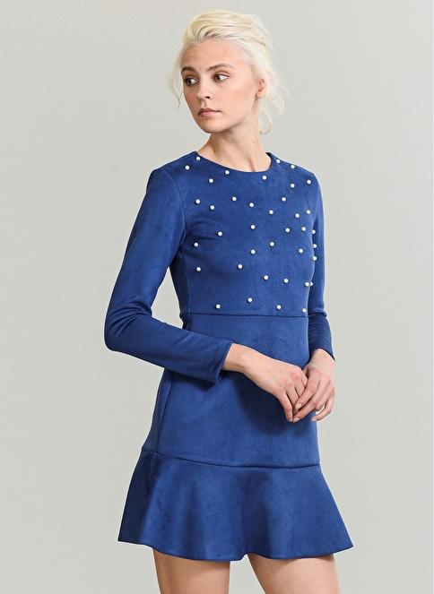 People By Fabrika İncili Elbise Mavi